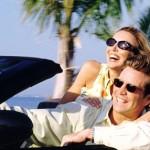 Couple enjoying their convertible
